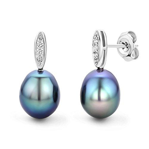 Miore - Boucles d'Oreilles Femme - Or blanc 375/1000 (9 carats) 0.86 gr - Diamant - Perle d'eau douce