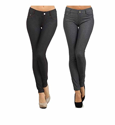 (Yelete Women's Basic Five Pocket Stretch Jegging Tights Pants (S/M, Black/Grey w/ Free EAG Leggings), 2PK)