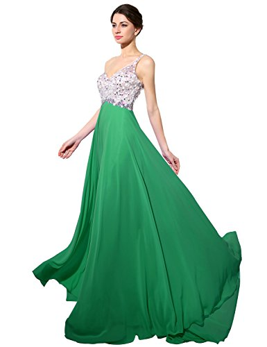 Long Dresses Dark HAJ042 Belle One Evening Chiffon Green Prom Women's Shoulder House Gown qSSO1xwCIT