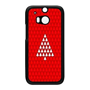 White Xmas Tree on Red Pattern Black Hard Plastic Case for HTC? One M8 by UltraCases + FREE Crystal Clear Screen Protector