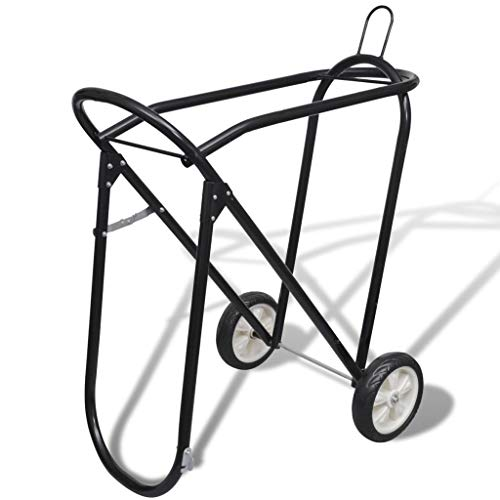 BestHomeFuniture Collapsible Steel Saddle Stand with Wheels Rolling Tack Rack Yard Stable Storage