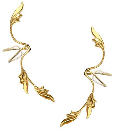 (Ear Charms Delicate Leaf Ear Cuff Pair Non-Pierced Full Ear Spray Wrap Earrings Gold On Sterling Silver)