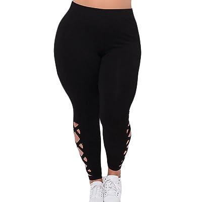 ARRIVE GUIDE Womens Flex Elastic Hollow Plus Size Solid Criss-Cross Leggings