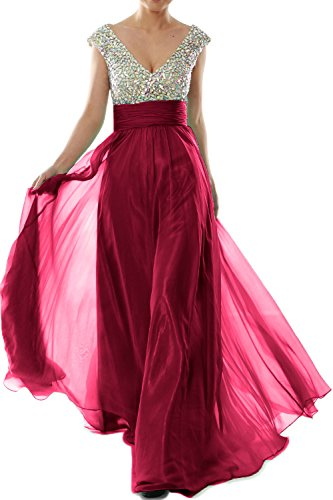 MACLoth Women Cap Sleeve V Neck Crystal Chiffon Long Prom Dress Evening Gown Wine Red