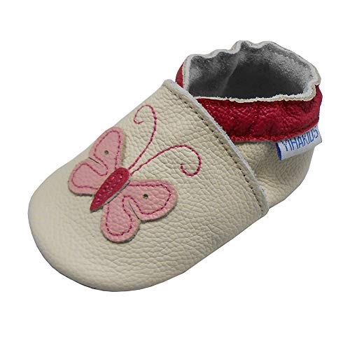 YIHAKIDS Baby Shoes for Boys Girls Infant Toddler Leather Moccasins Soft Sole Baby Slippers Butterfly(6-6.5 US /6-12 Mo./5.1in, Beige)