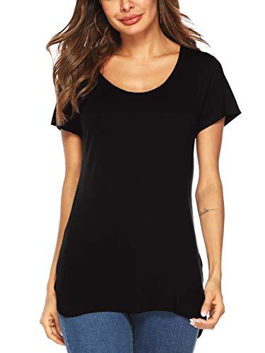 Beluring Women's Short Sleeve Cotton Casual Scoop Neck Tee Shirts (Black, ()