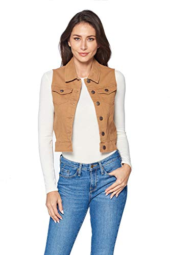 (ICONICC Women's Sleeveless Vest Jean Jacket Color Denim Camel (V6006_Camel_S))