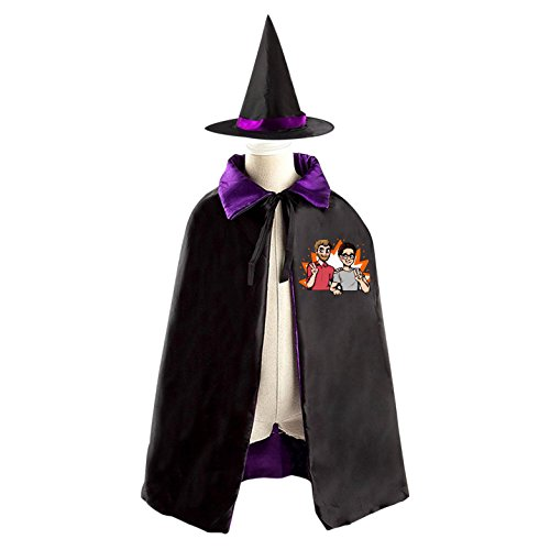 Good Mythical Morning Halloween Wizard Witch Kids Cape With Hat Party Cloak