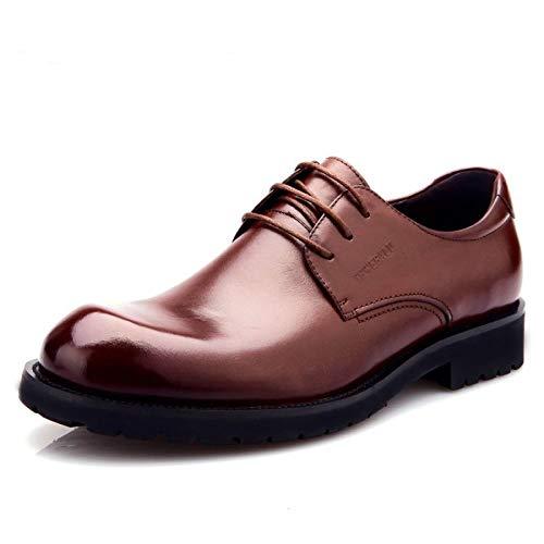 MSM4 Herren Runde Zehe Dicke Derby Schuhe Echtes Leder Schuhe Business Casual 469 Brown
