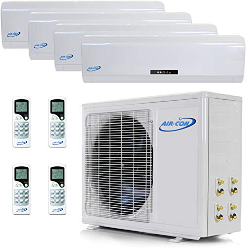 Multi Zone Mini Split Ductless Air Conditioner – Quad Zone 9000 + 9000 + 9000 + 12000 - Whisper Quiet High Efficiency - 4 Zone Pre-Charged Inverter Compressor - Premium Quality - USA Parts