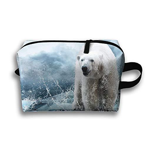 Travel Cosmetic Bag Ice Polar Bear Unisex Makeup Bag Zipper Wallet Hangbag Wristlet Holder -