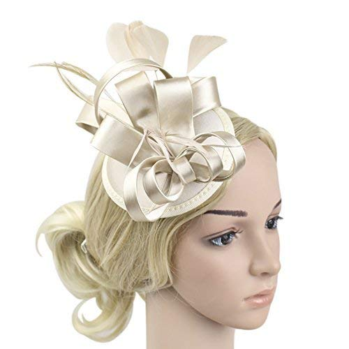 e604d1eab29e3 ChezAbbey Women s Feather Pillbox Hat Flower Derby Hat Fascinator Hair Clip  Hat Wedding Cocktail Tea Party