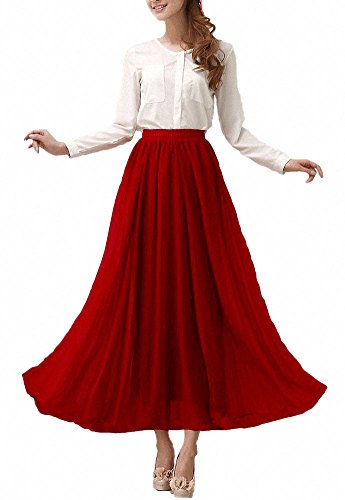 Afibi Womens Chiffon Retro Long Maxi Skirt Vintage Dress (Medium, Wine Red)