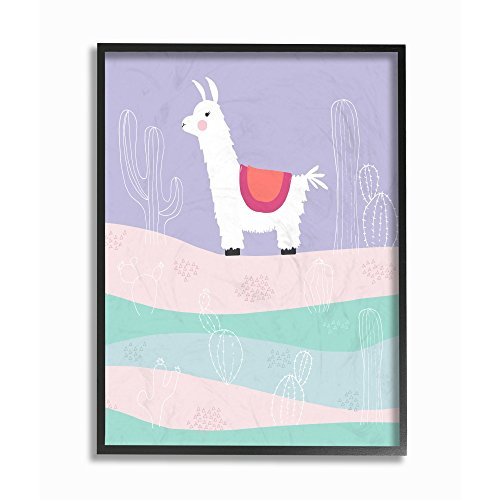 (The Kids Room by Stupell Llama in the Pastel Desert With Cacti Framed Giclee Texturized Art, 11 x 1.5 x 14, Proudly Made in USA)