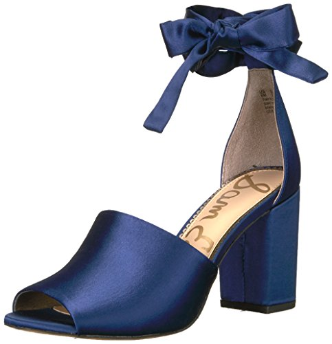 Sam Edelman Women's Odele Heeled Sandal, Poseidon Blue Satin, 8 Medium (Satin Ankle Wrap Sandal)