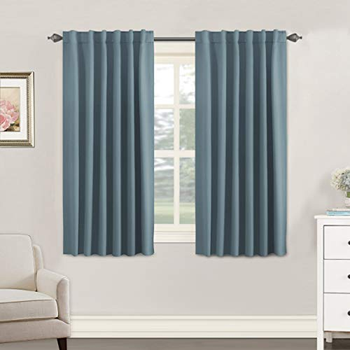 H.VERSAILTEX Blackout Curtains for Kids Room - Triple Weave Microfiber Home Thermal Insulated Solid Back Tab/Rod Pocket Window Curtains for Bedroom/Living Room (2 Panels, 52