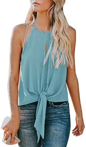 6e27e9d018954 Topstype Women's Summer Sleeveless Crew Neck Tank Tops Camis Front Tie Knot  Casual Shirt Keyhole Front