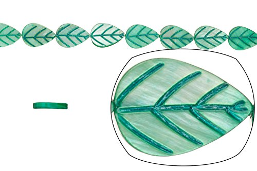 Shell bead, green(dyed) Mother-of-Pearl, teardrop carved leaf, 15x10mm 16 (Teardrop Shell Beads)