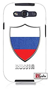 Russia Russian National Flag Badge Direct UV Printed Unique Quality Rubber Soft TPU Case for Samsung Galaxy S3 SIII i9300 (WHITE)