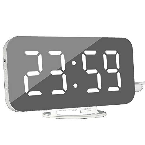 DollaTek Reloj de Alarma Digital - Reloj Despertador Moderno con Puerto USB Reloj con Espejo Digital El Mejor Reloj de Tiempo Decorativo para el Escritorio de la Mesa de Pared - Fuente Blanca