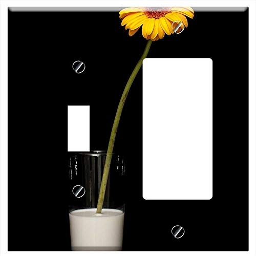 - 1-Toggle 1-Rocker/GFCI Combination Wall Plate Cover - Flower Yellow Daisy Nature Spring Flowers