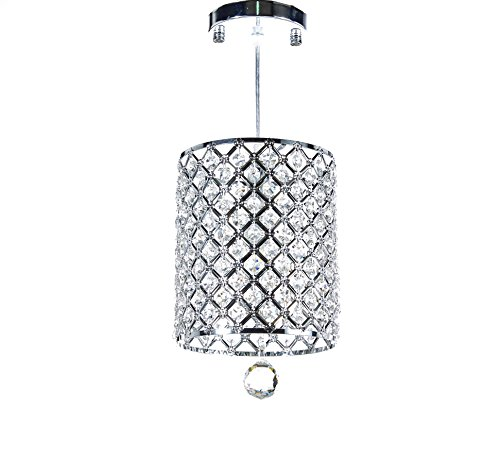 Diamond Life Chrome Finish 1-light Round Metal Shade Crystal Chandelier Hanging Pendant Ceiling Lamp Fixture, 359 -