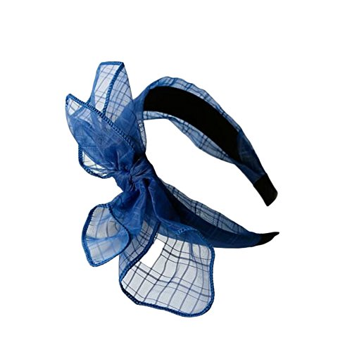 Topshop Women Girls Elegant Bowknot Wide Mesh Headband Hair Accessories (Blue (Plaid Wide Headband)