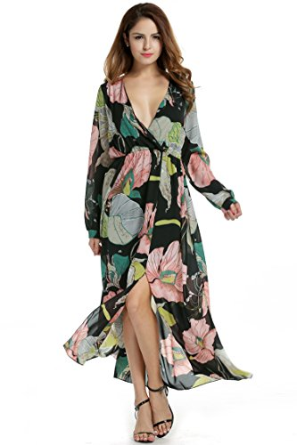 Zeagoo Women Chiffon V-Neck Long Sleeve Slit Floral Long Maxi Party Beach Dress (Large, Pink)