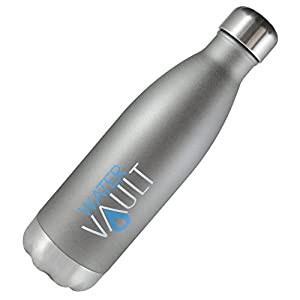 WaterVault Stainless Steel Thermo Water Bottle, Vacuum Insulated Double Walled, Keeps Hot to 12 Hours Cold to 36 Hours – BPA Free Cola Shaped Thermos Bottle (Matte Gray 26oz)