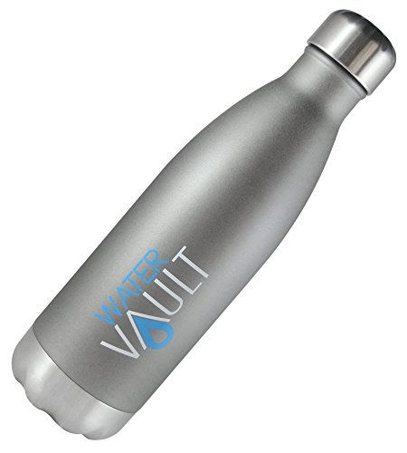 WaterVault Vacuum Insulated Water Bottles -18/8 Stainless Steel Thermos Bottle - Keeps Cold 24 Hours, Hot 12 Hours - Double Wall + Copper Thermo Technology, 26oz, Matte Gray
