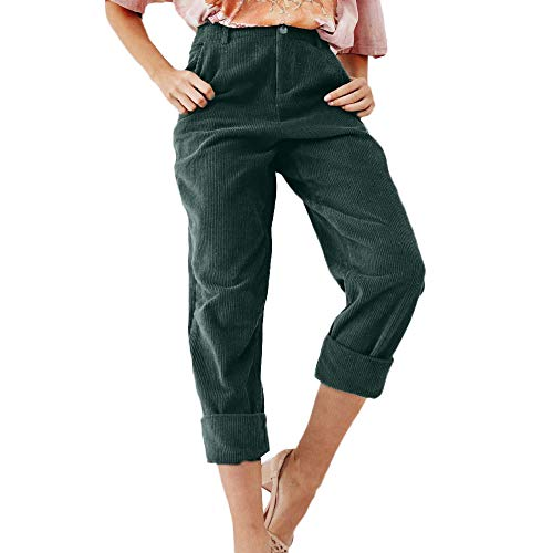 iYYVV Women Corduroy Fashion Solid Full Length Button Fly Pants Pocket Slim Fit Trouser ()