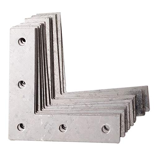Sipery 4inch Flat Plated Corner Braces Bracket 90 Degree Joint Right Angle Bracket Fastener L Type 0.8mm Thickness 20Pcs for Repairing Wood Furniture