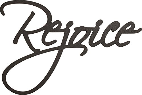 P. Graham Dunn Rejoice Script Black 18 x 15 Wood Cutout W...