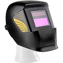 Flexzion Auto Darkening Welding Helmet Solar Powered Weld/Grind Selectable Mask Tool Vivid Black Face Protector for Arc Tig Mig Grinding Plasma Cutting with Adjustable Shade Range 9-13