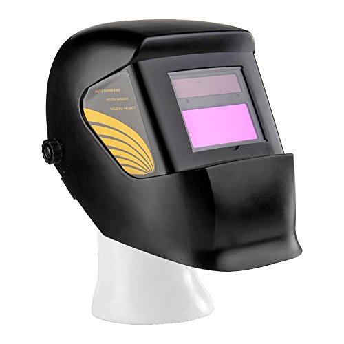 Electro Air Electronic Air Cleaner (Flexzion Auto Darkening Welding Helmet Solar Powered Weld/Grind Selectable Mask Tool Vivid Black Face Protector for Arc Tig Mig Grinding Plasma Cutting with Adjustable Shade Range 9-13)