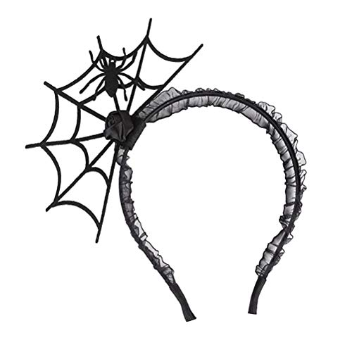 Beaupretty Halloween Spider Headband Cosplay Hair Hoop Devil Headband Lace Hair Clasp Props Party Supplies Black]()