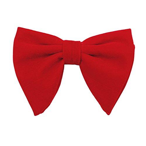 Levao Men's Velvet Vintage Bow Tie Tuxedo Big Bowtie RB003 D Red (Bow Oversized Red)