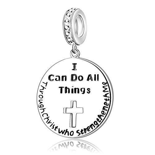 I Can Do all Things Through Christ who Strengthen Me 925 Sterling Silver Charms for Bracelet Religion Jewelry for Mothers (Silver Pandora Bracelet)