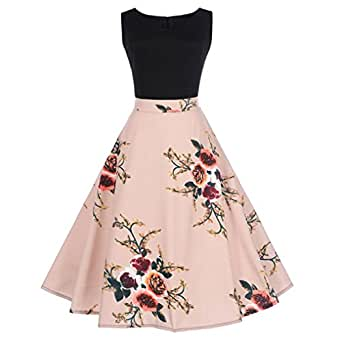 YINROM Women Vintage Dress Ladies Fashion Floral Bodycon Sleeveless Evening Party Pleated Swing Dress (S, Black)