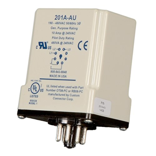 Symcom MotorSaver 3-Phase Voltage Monitor, Model 201A-AU, 190-480V, Variable Trip Point, Restart Delay, Trip Delay, and Voltage Unbalance, 8-Pin Octal (Octal Base)