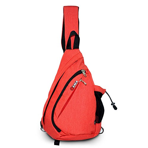 LC Prime Sling Bag Chest Pack Shoulder Unbalance Sack Fanny Gym Backpack Satchel Outdoor Rucksack Adjustable Shoulder Strap Exchange Shoulder for Travel Cycling Hiking Nylon red