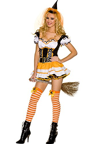 Music Legs Wicked Candy Corn Witch Costume Orange/Black/White Medium/Large]()