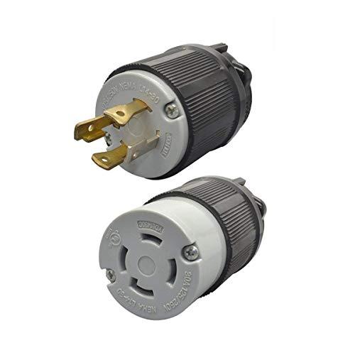 YuaDon 125/250Volt,30Amp,NEMA L14-30R, NEMA L14-30P, Locking Plug Receptacle Set for Generater Power,3 Pole,4 Wire,Industrial Grade
