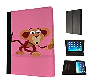 1150 - Cute Fun Monkey Animal Pinky Design Apple ipad Mini / ipad Mini Retina 1 2 3 Fashion Trend TPU Leather Flip Case Protective Purse Pouch Book Style Defender Stand Cover