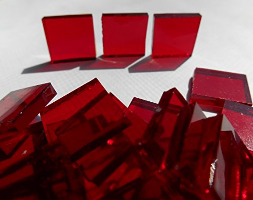 FortySevenGems 100 Pieces Stained Glass Mosaic Tiles 1/2-Inch Red Cathedral Glass (Red Tile)