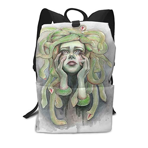 Medusa Painting Halloween Green Picture Mini Cute Lightweight Women Themed Mini Bookbag Teens School Backpack Bookbags College Bags Satchel Travel Book Bag Daypack -
