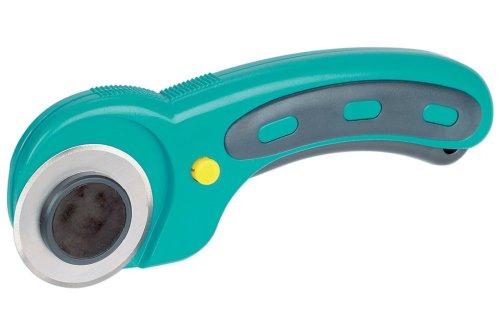 Wolfcraft 4152000 1x Rollmesser aus Kunststoff für Stoffe und Papier, gerader und Kurvenschnitt / mit austauschbarer 45 mm Klinge