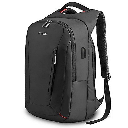 DTBG 15.6 Inch Laptop Backpack Business Backapck For Men With USB Charging Port School Bookbag Travel Casual Nylon Rucksack Business Daypack Water Resistant Backpack for Women - Black