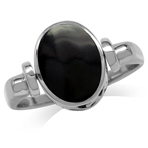 (Created Black Onyx Inlay White Gold Plated 925 Sterling Silver Filigree Reversible Ring Size 9)