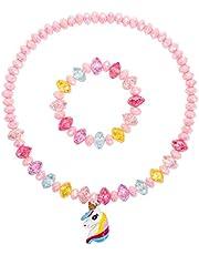Crystal Unicorn Necklace Bracelet Set,Toddler Girls Unicorn Necklace Bracelet,Little Girls Colorful Beads with Bling Unicorn Jewelry